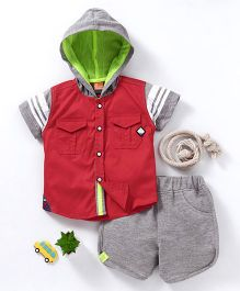Little Kangaroos Half Sleeves Hooded Shirt And Shorts - Red Grey
