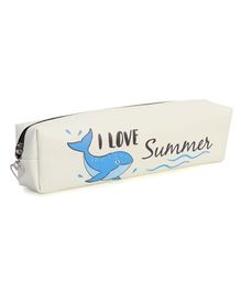 Rectangle Pencil Pouch Whale Print - Cream