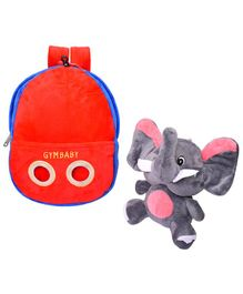 Appu Series Plush School Bag Grey Red - Height 12.5 inches