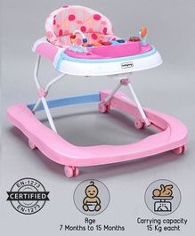 Babyhug Tiny Steps 2-in-1 Activity Walker With 3 Level Height Adjustment   - Pink