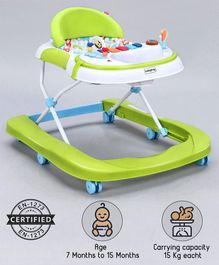 Babyhug Tiny Steps 2-in-1 Activity Walker With 3 Level Height Adjustment  - Light Green