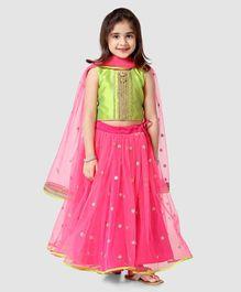 53a700f14e Saka Designs Lehenga With Sleeveless Choli & Net Dupatta Sequin Work - Neon  Green Pink