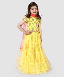 d675fa35e6 Saka Designs Lehenga With Balloon Sleeves Glitter Designer Choli & Dupatta  - Yellow