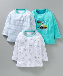 Kidi Wav Full Sleeves Multi Print Pack Of 3 T-Shirts - Light Blue & White