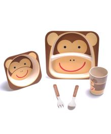 Smartcraft Bamboo 5 Piece Dinner Set Monkey Print - Brown Cream