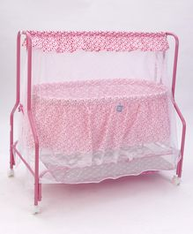 Mee Mee Cradle with Mosquito Net Heart Print - Pink