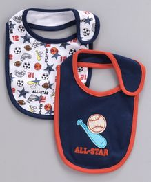 Babyhug Cotton Bibs Pack of 2 - Navy Blue White
