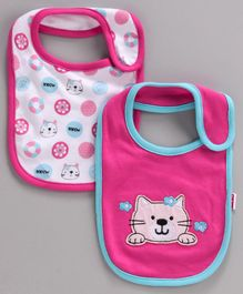 Babyhug Cotton Bibs Kitty Embroidery Pack of 2 - Pink White
