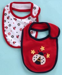 Babyhug Cotton Bibs Honey Bee Embroidery Pack of 2 - Red White