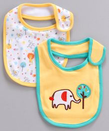 Babyhug Cotton Bibs Elephant Embroidery Pack of 2 - Yellow White