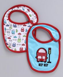 Babyhug Cotton Bibs Car Embroidery Pack of 2 - Blue White