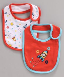 Babyhug Cotton Bibs Rocket Embroidery Pack of 2 - Orange White