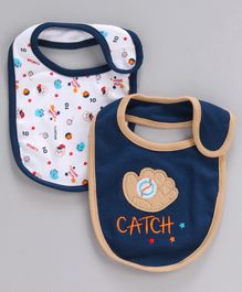 Babyhug Cotton Bibs Gloves Embroidery Pack of 2 - Blue White