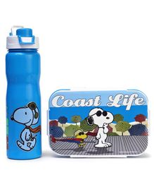 Peanuts Lunch Box & Insulated Water Bottle Coast Life Print - Blue