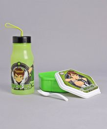 Jewel Hexagon Shaped Lunch Box & Water Bottle Set Ben 10 Print - Green