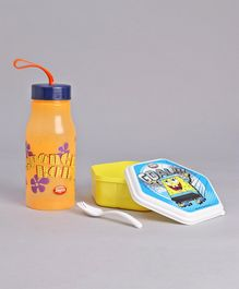 Jewel Hexagon Shaped Lunch Box & Water Bottle Set Sponge Bob Print - Yellow