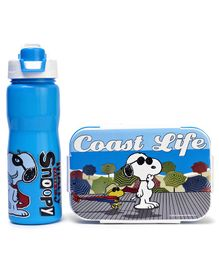 Jewel Lunch Box & Water Bottle Set Snoopy Print - Blue White