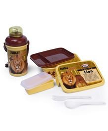 Jewel Lunch Box & Water Bottle Set Lion Print - Brown