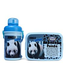 Jewel Lunch Box & Water Bottle Set Panda Print - Black & Blue