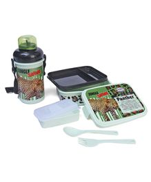 Jewel Lunch Box & Water Bottle Set Panther Print - Green
