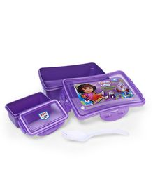 Dora Lunch Box With Fork Spoon - Purple
