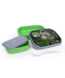 Jewel Lunch Box With Fork Spoon Ben 10 Print - Green and Black