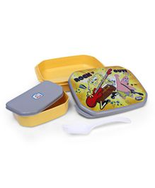Jewel Lunch Box With Fork Spoon Sponge Bob Print - Yellow and Gray