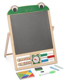 IndiaBuy 2 In 1 Writing Board With Abacus And Clock - Black White