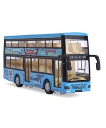 IndiaBuy Pull Back Action Diecast Metal Double Decker Bus With Light & Sound - Blue