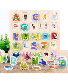 Webby Wooden Alphabet & Wild Animals Puzzle - Multicolour