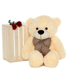 Webby Teddy Bear With Neck Bow Beige - Height 91 cm