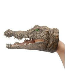 Webby Soft Rubber Crocodile Hand Puppet - Brown