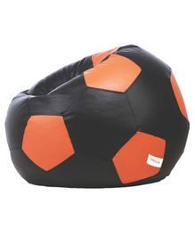 Sattva Football Shaped Bean Bag With Beans XXL - Black