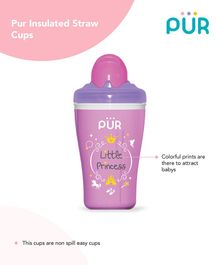 Pur Insulated Straw Cup Little Princess Print - Pink & Violet