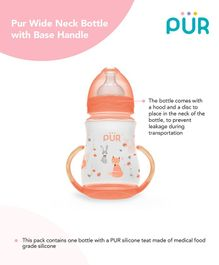 Pur Wide Neck  Bottle With Base Handle Pink - 250 ml.