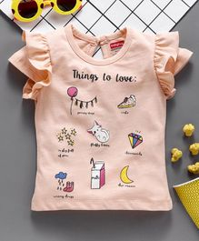 Babyhug Short Sleeves Single Jersey Top Multiprint - Peach