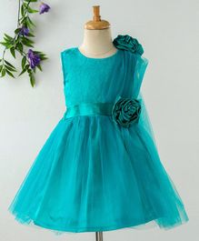 Babyhug Sleeveless Party Frock 3D Satin Flowers - Turquoise