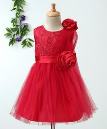 Babyhug Sleeveless Party Frock 3D Satin Flowers - Red