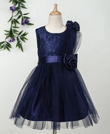 Babyhug Sleeveless Party Frock 3D Satin Flowers - Navy Blue