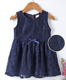 Babyhug Sleeveless Lace Fabric Party Dress - Navy