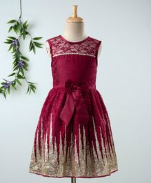 Babyhug Sleeveless Frock With Sequin Work & Bow Applique - Maroon