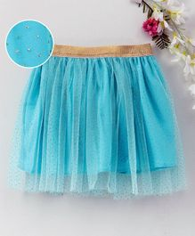 Babyhug Party Wear Net Frill Skirt With Gold Glitter - Blue