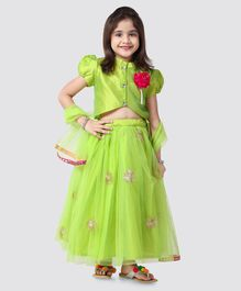 1043185d92 Saka Designs Puff Sleeves Mandarin Collar Choli With Dupatta & Lehenga  Sequin Work - Green