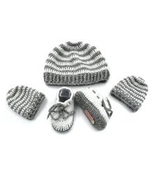 Magic Needles Striped Design Cap & Booties With Mittens - Grey & White