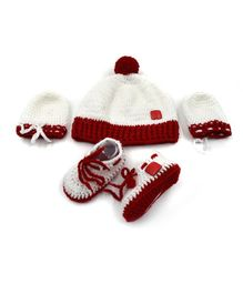 Magic Needles Pom Pom Applique Cap With Booties & Mittens - Red