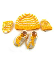 Magic Needles Striped Cap & Booties With Mittens - Yellow