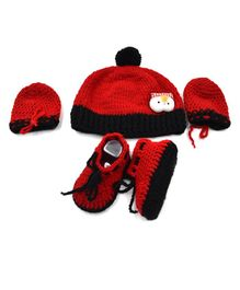 Magic Needles Pom Pom Applique Cap & Booties With Mittens - Red