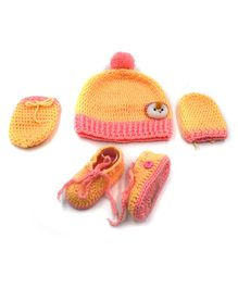 Magic Needles Animal Face Applique Cap & Booties With Mittens - Pink & Yellow