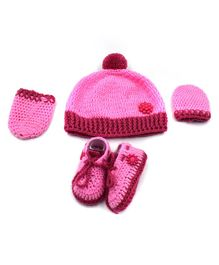 Magic Needles Flower Applique Cap & Booties With Mittens - Pink