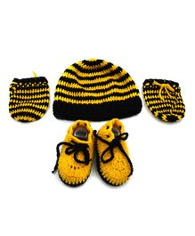 Magic Needles Striped Cap & Booties With Mittens - Black & Yellow